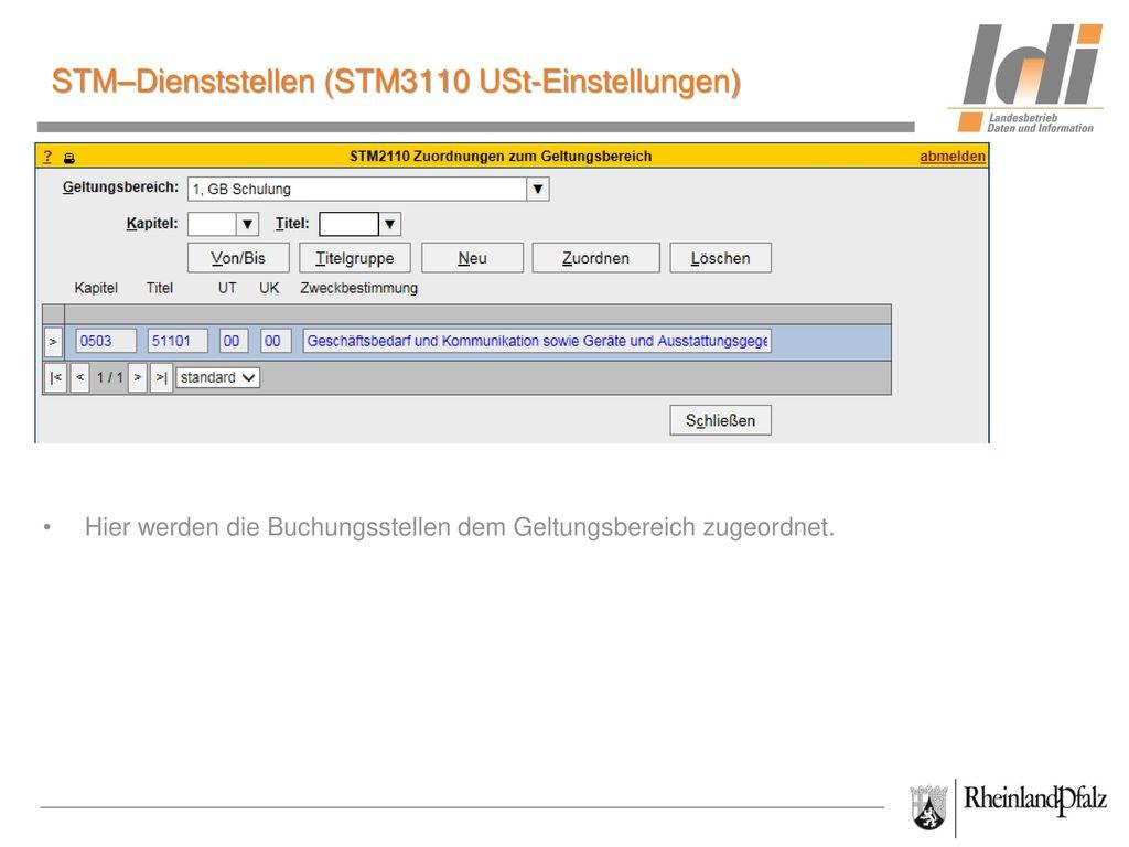 STM–Dienststellen (STM3110 USt-Einstellungen)