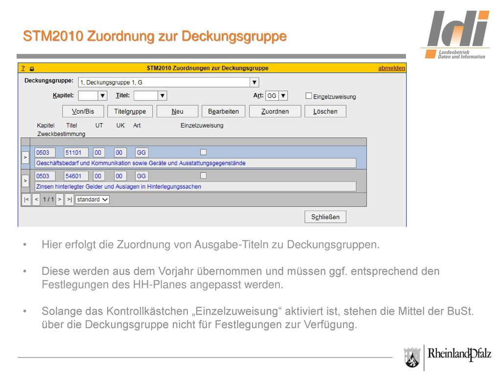 STM2010 Zuordnung zur Deckungsgruppe