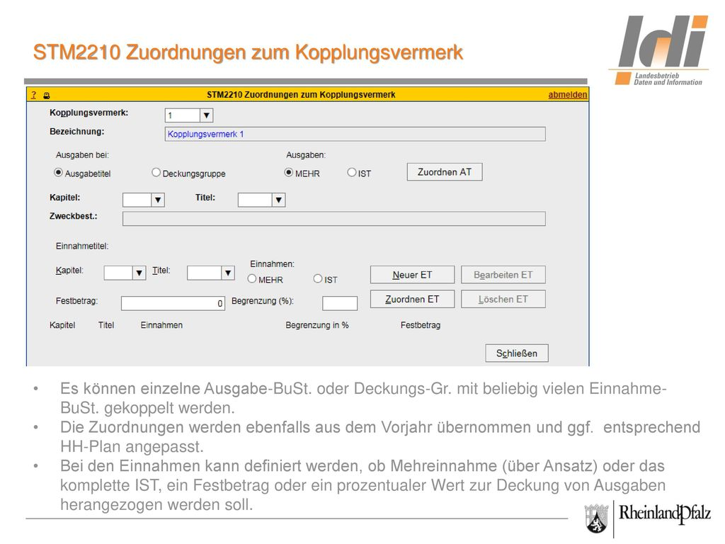 STM2210 Zuordnungen zum Kopplungsvermerk