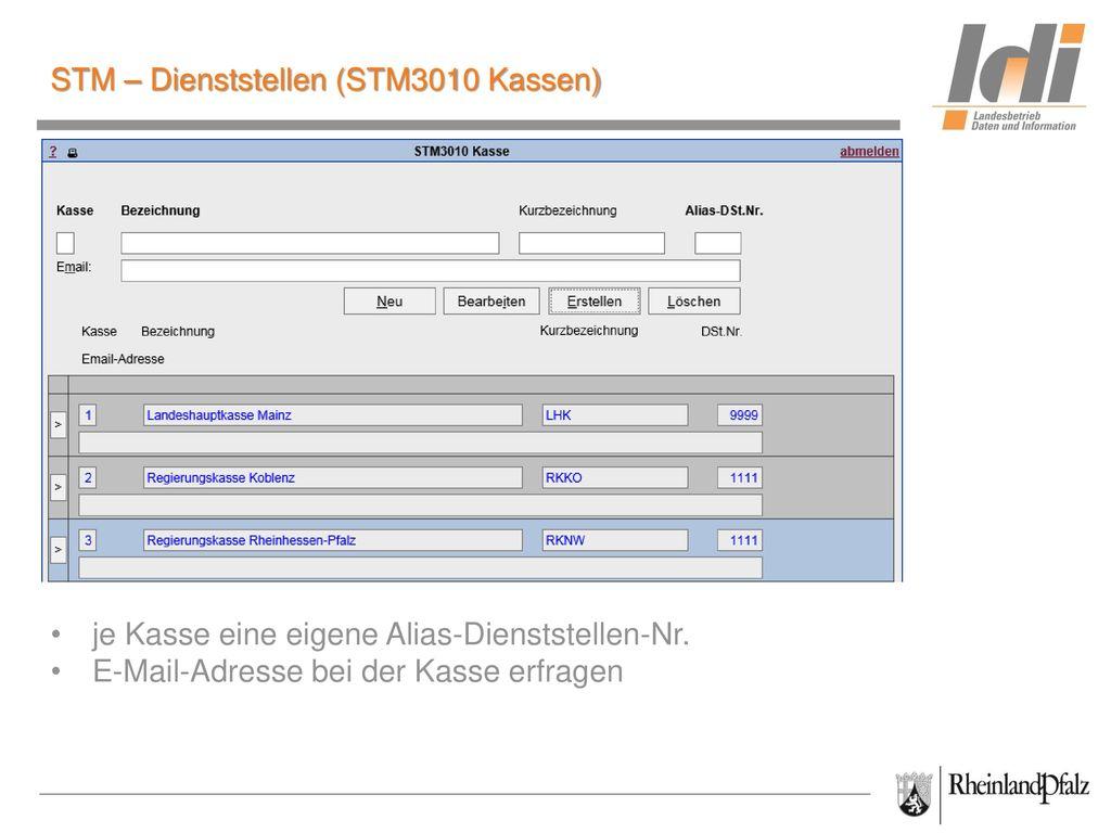 STM – Dienststellen (STM3010 Kassen)