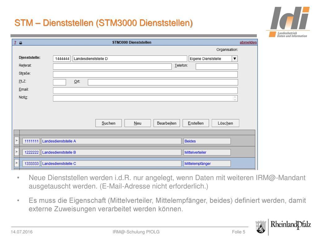 STM – Dienststellen (STM3000 Dienststellen)