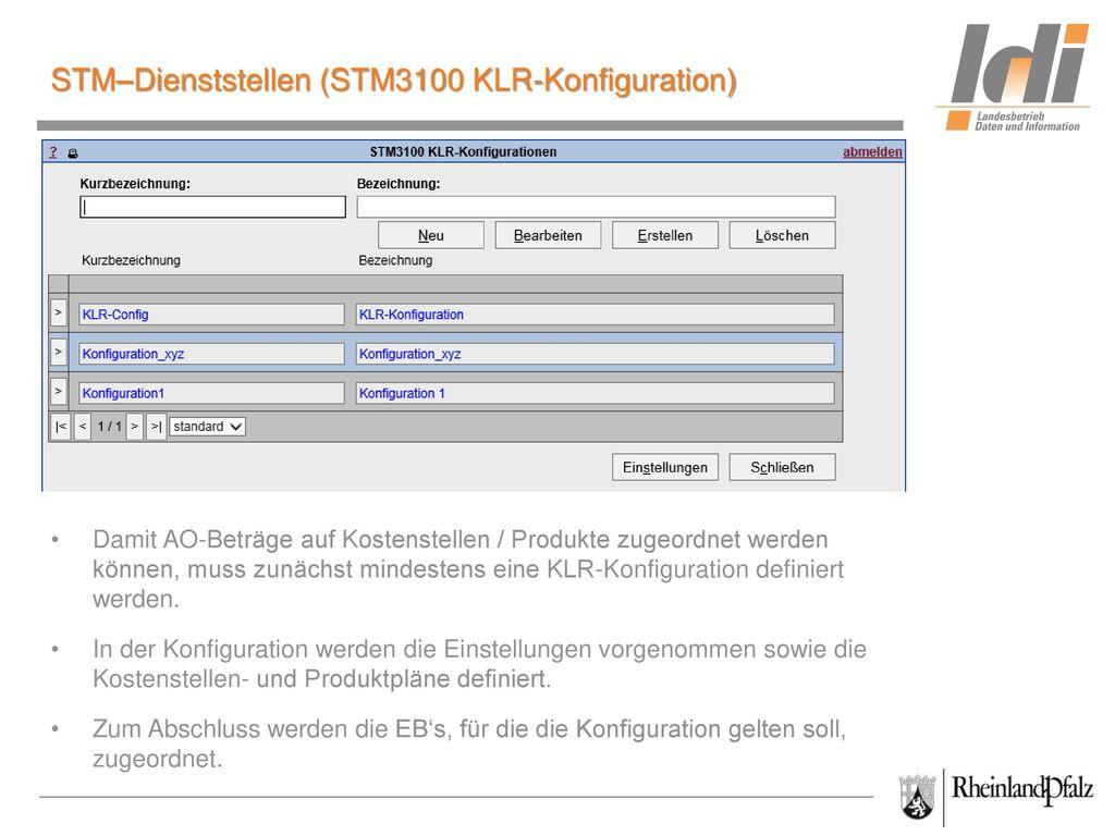 STM–Dienststellen (STM3100 KLR-Konfiguration)