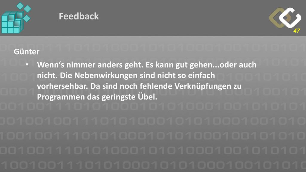 Feedback Günter.