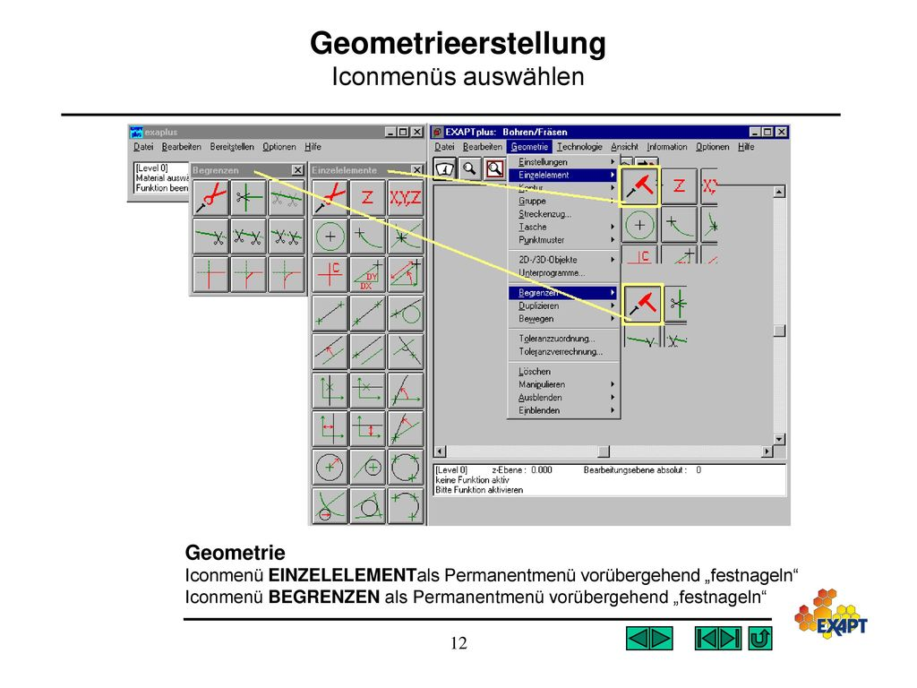 Geometrieerstellung Iconmenüs auswählen