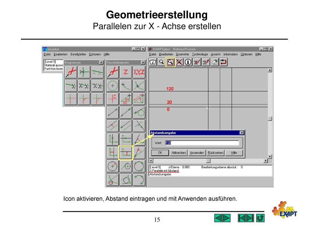 Geometrieerstellung Parallelen zur X - Achse erstellen