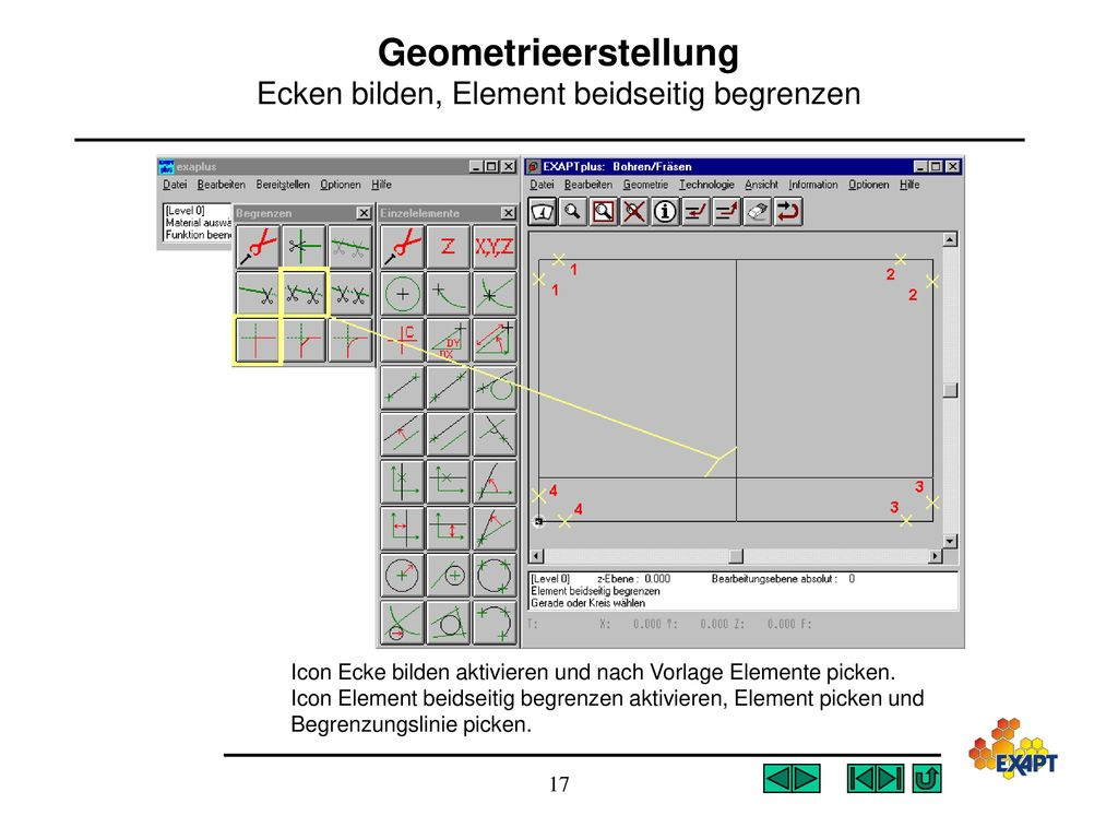 Geometrieerstellung Ecken bilden, Element beidseitig begrenzen