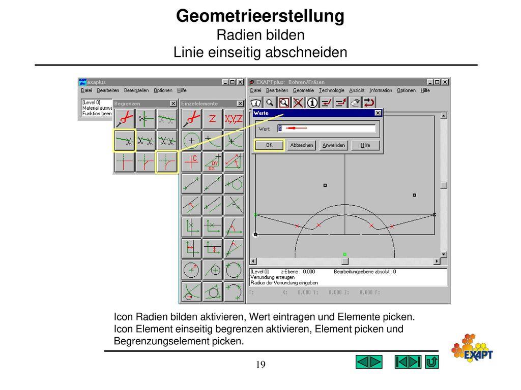 Geometrieerstellung Radien bilden Linie einseitig abschneiden