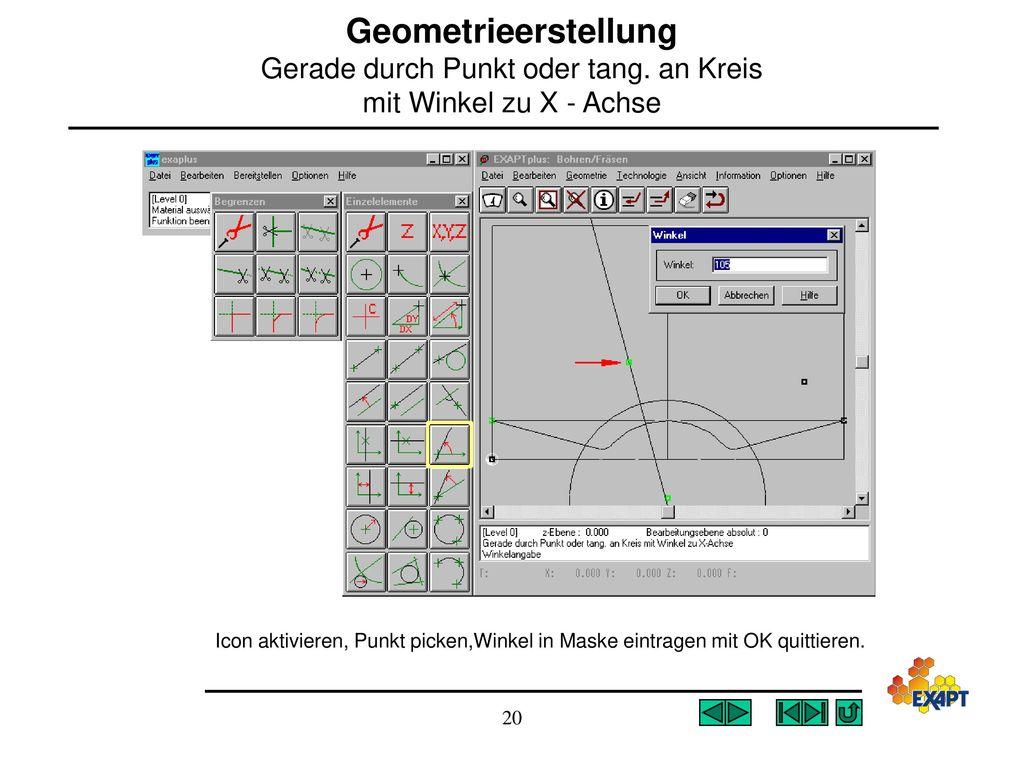 Geometrieerstellung Gerade durch Punkt oder tang