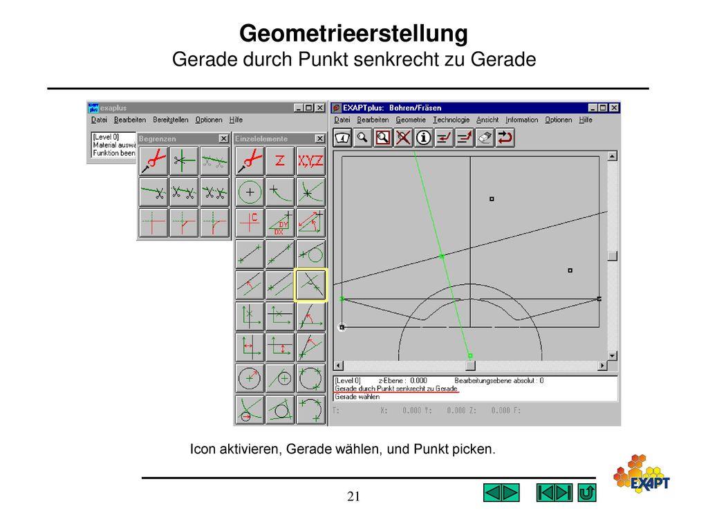 Geometrieerstellung Gerade durch Punkt senkrecht zu Gerade