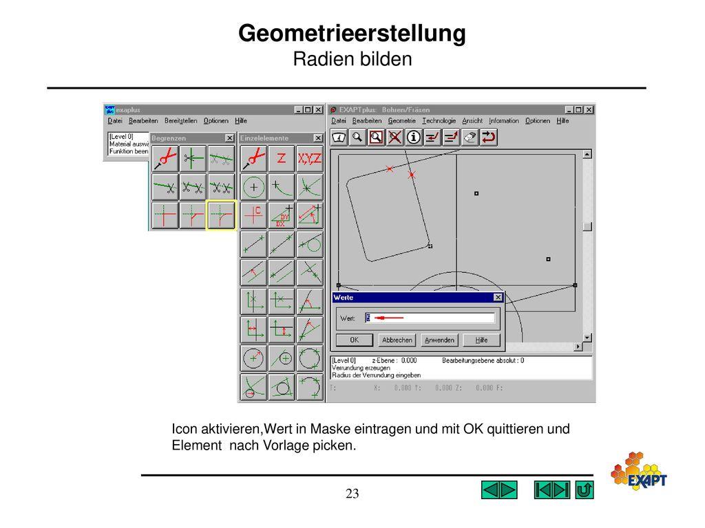 Geometrieerstellung Radien bilden