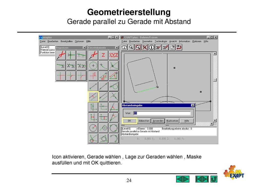Geometrieerstellung Gerade parallel zu Gerade mit Abstand
