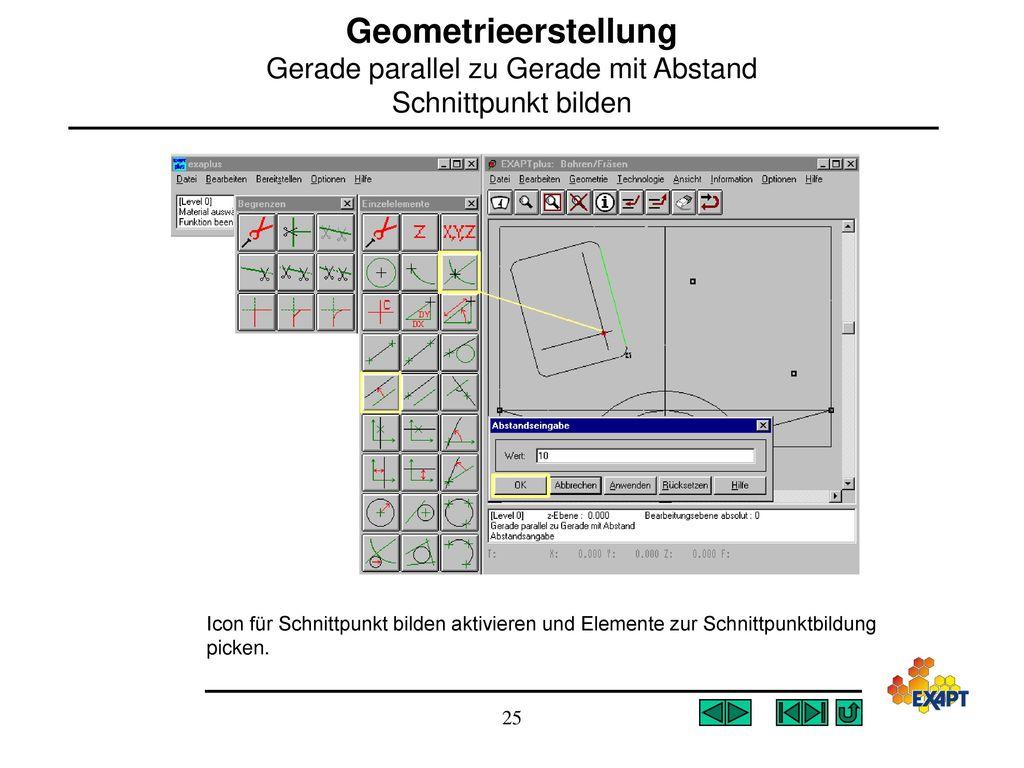 Geometrieerstellung Gerade parallel zu Gerade mit Abstand Schnittpunkt bilden