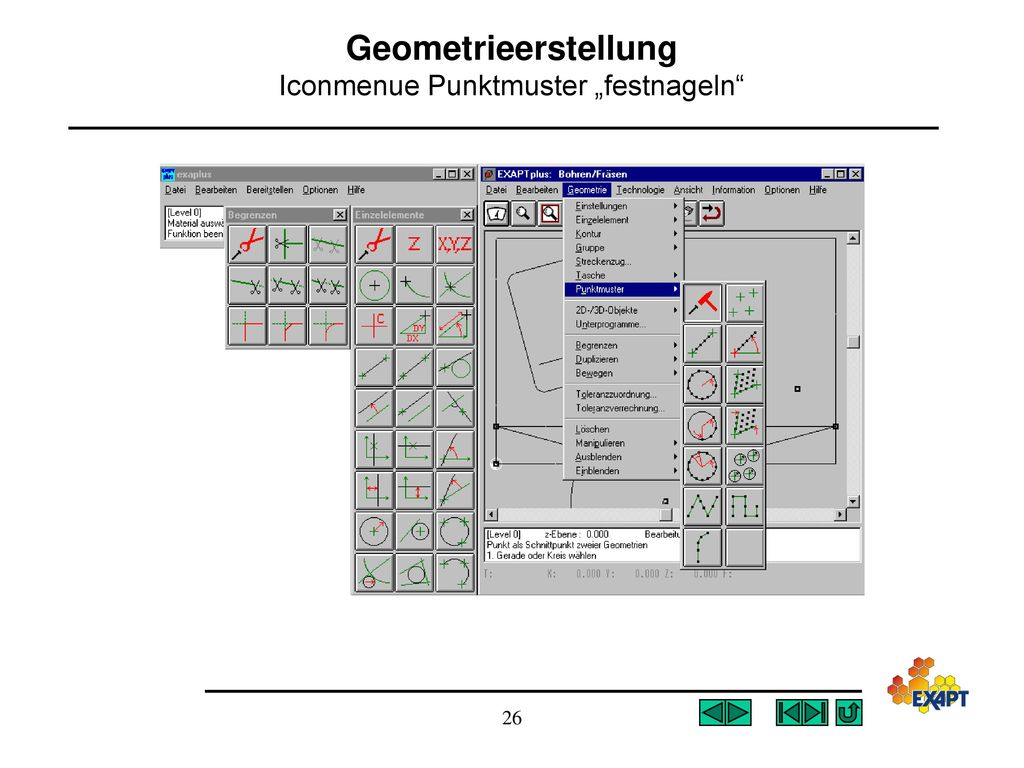 "Geometrieerstellung Iconmenue Punktmuster ""festnageln"
