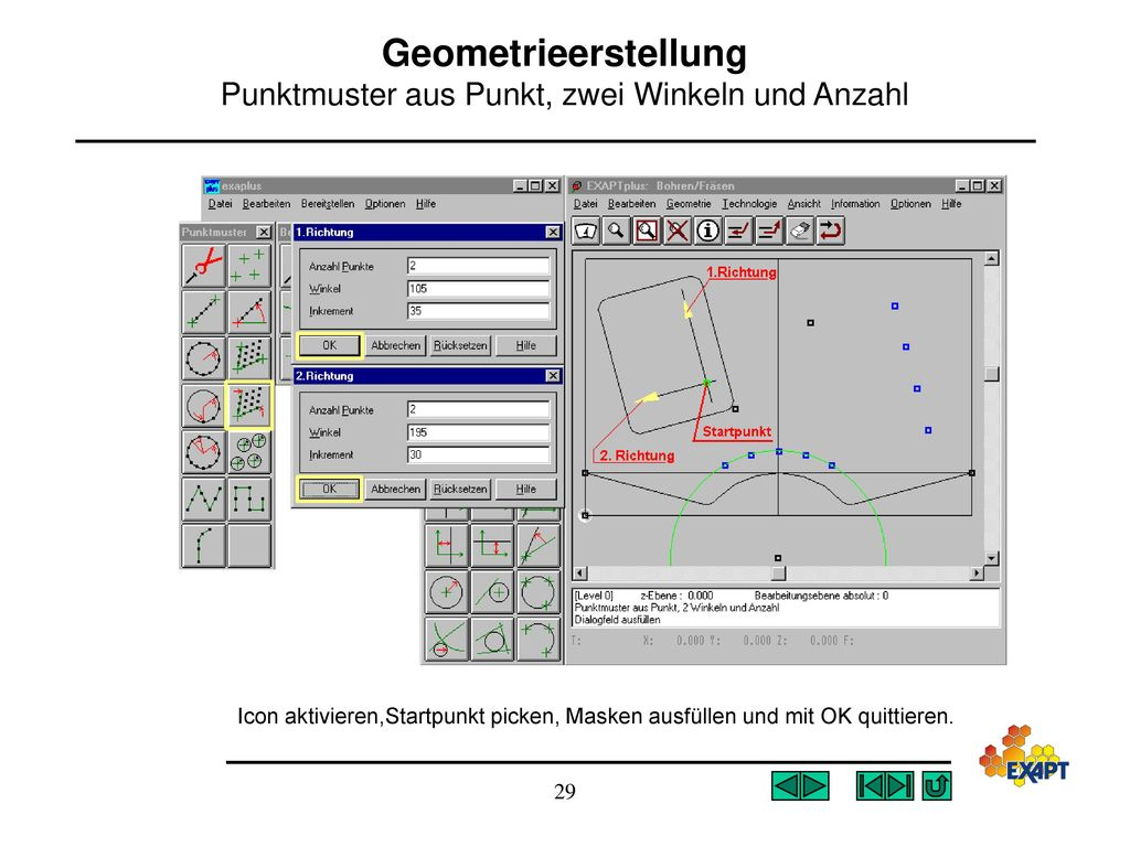 Geometrieerstellung Punktmuster aus Punkt, zwei Winkeln und Anzahl