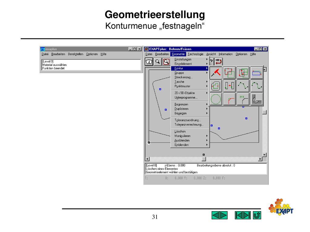 """Geometrieerstellung Konturmenue """"festnageln"""