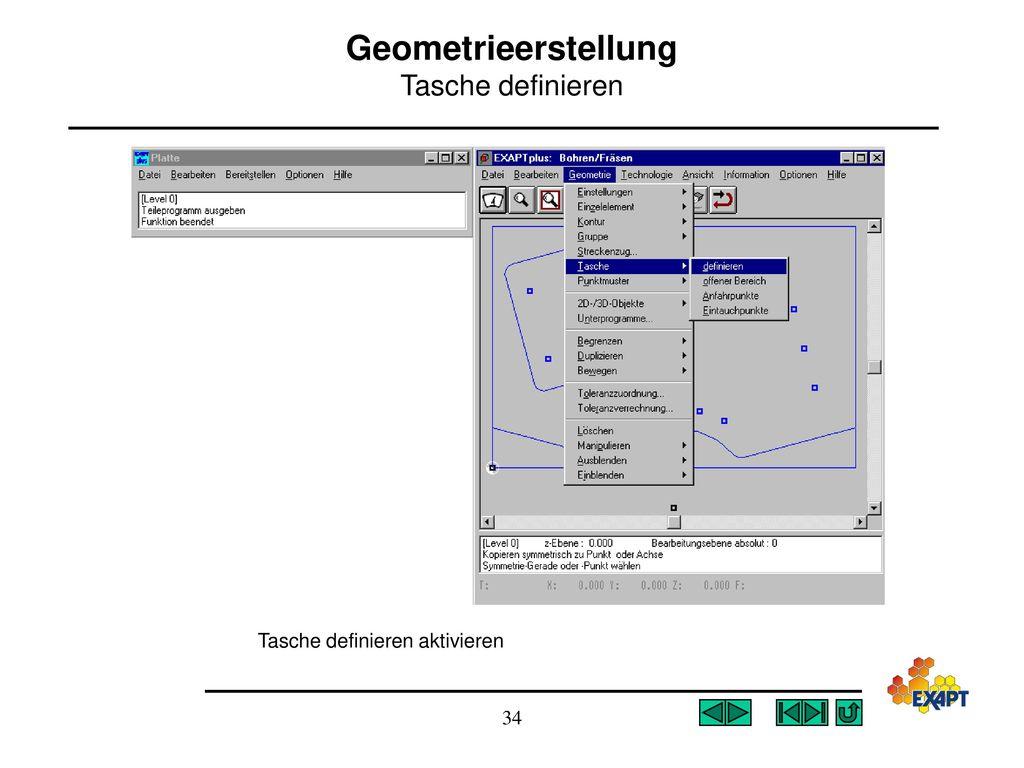 Geometrieerstellung Tasche definieren