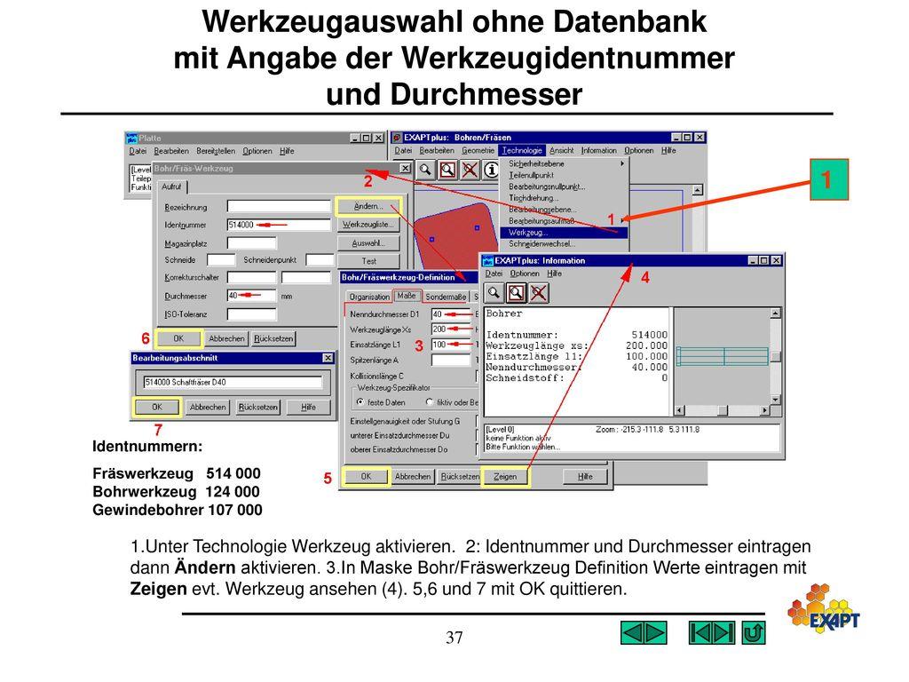 Werkzeugauswahl ohne Datenbank mit Angabe der Werkzeugidentnummer und Durchmesser