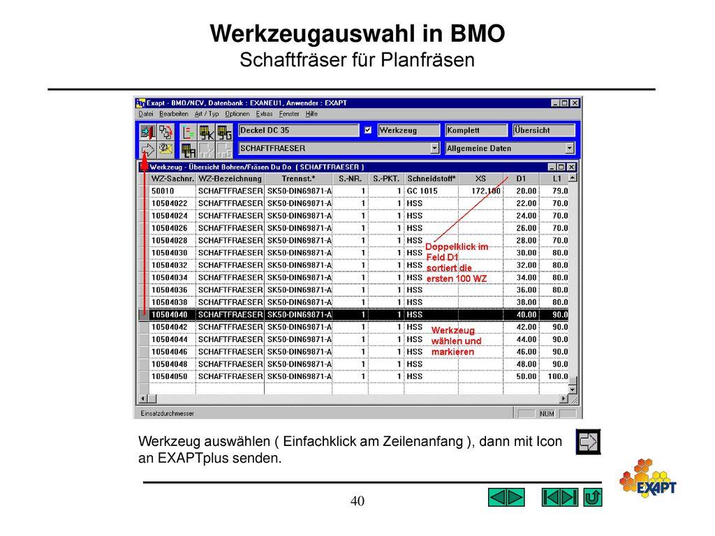 Werkzeugauswahl in BMO Schaftfräser für Planfräsen