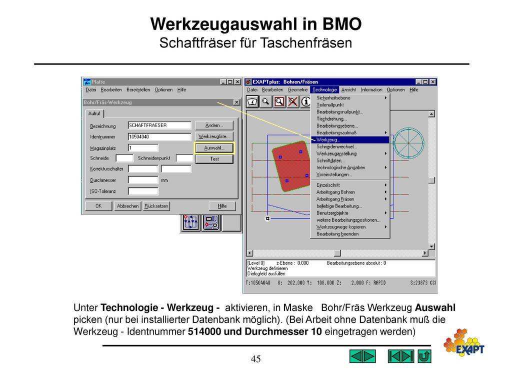 Werkzeugauswahl in BMO Schaftfräser für Taschenfräsen