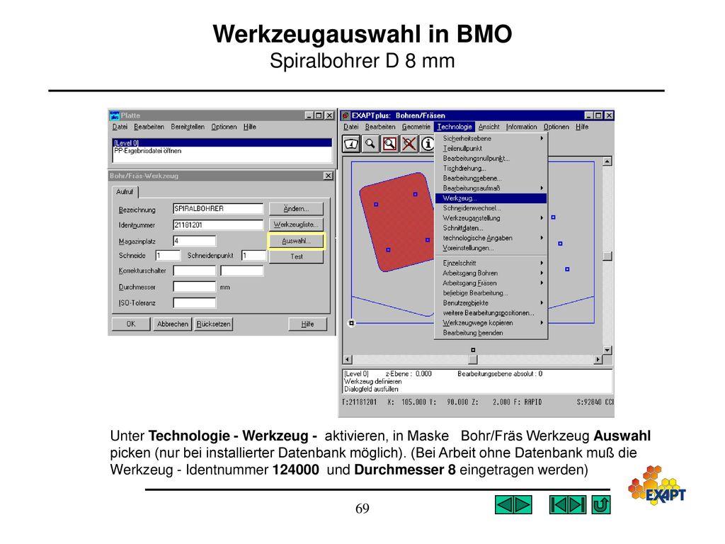 Werkzeugauswahl in BMO Spiralbohrer D 8 mm