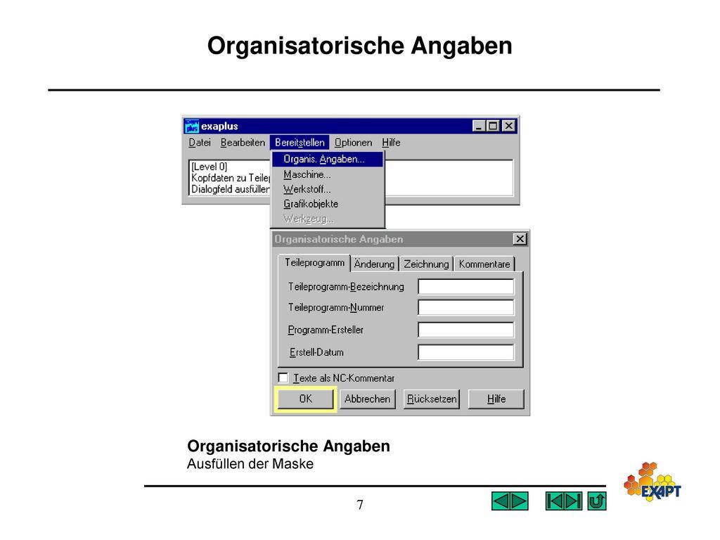 Organisatorische Angaben