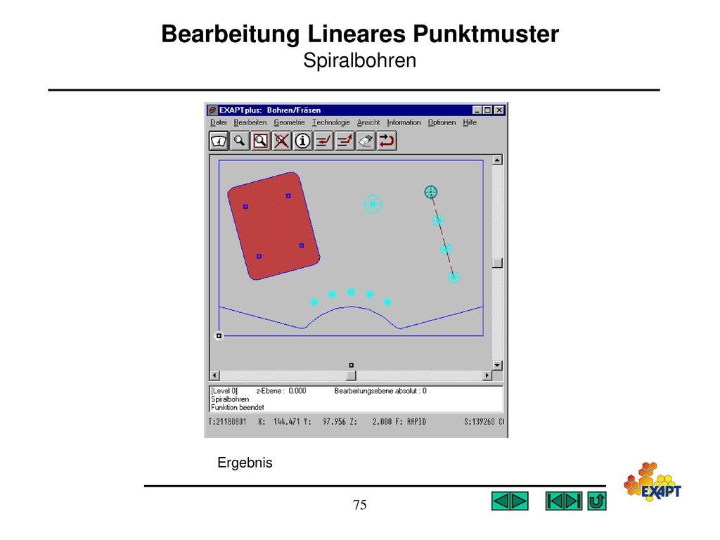 Bearbeitung Lineares Punktmuster Spiralbohren