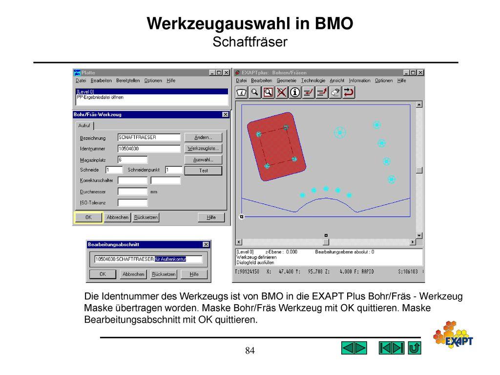 Werkzeugauswahl in BMO Schaftfräser