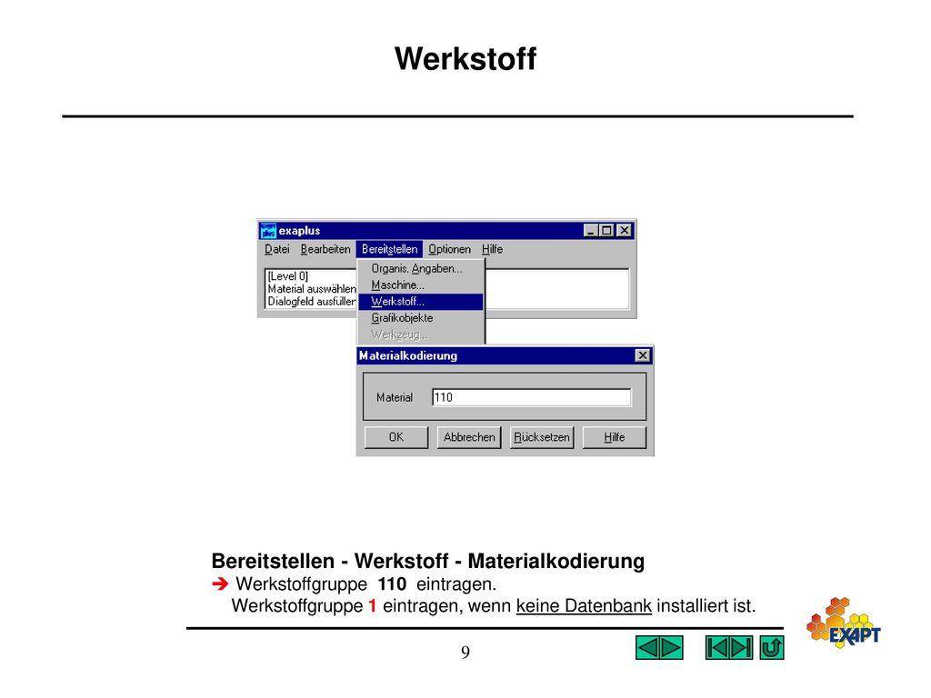 Werkstoff Bereitstellen - Werkstoff - Materialkodierung