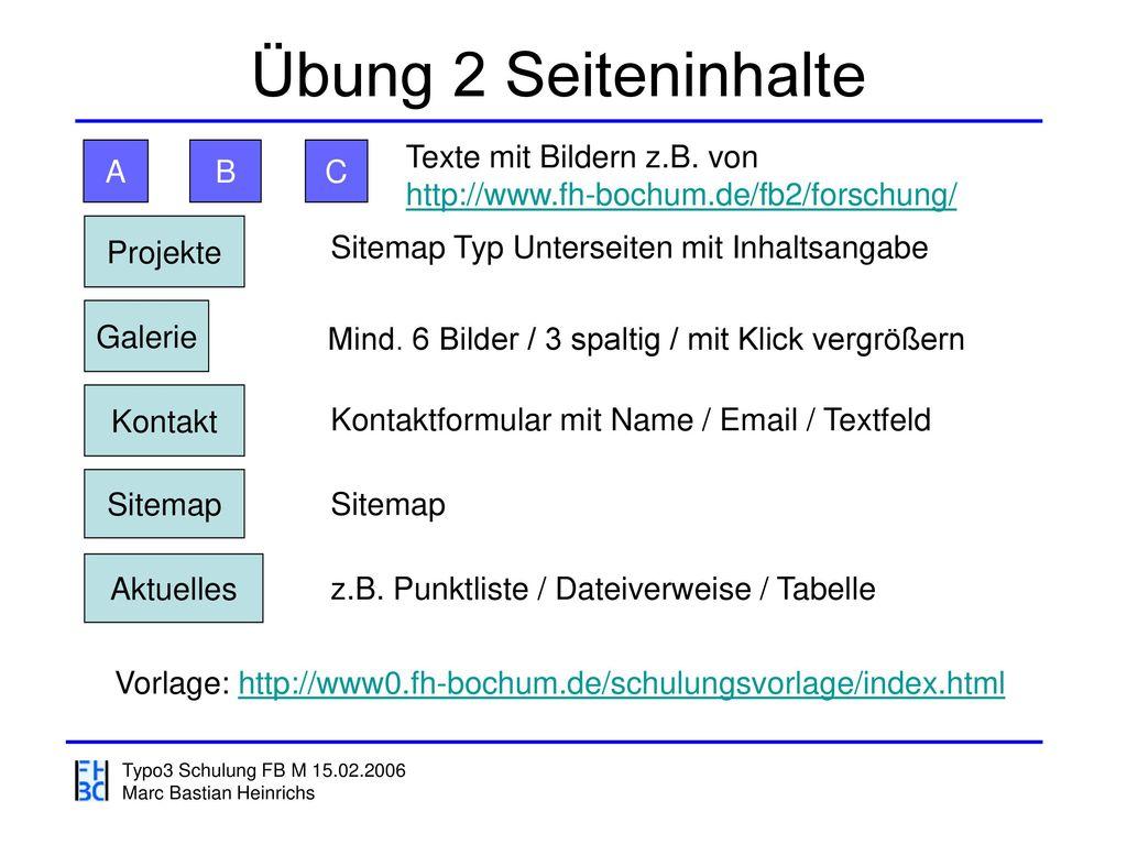 Übung 2 Seiteninhalte Texte mit Bildern z.B. von