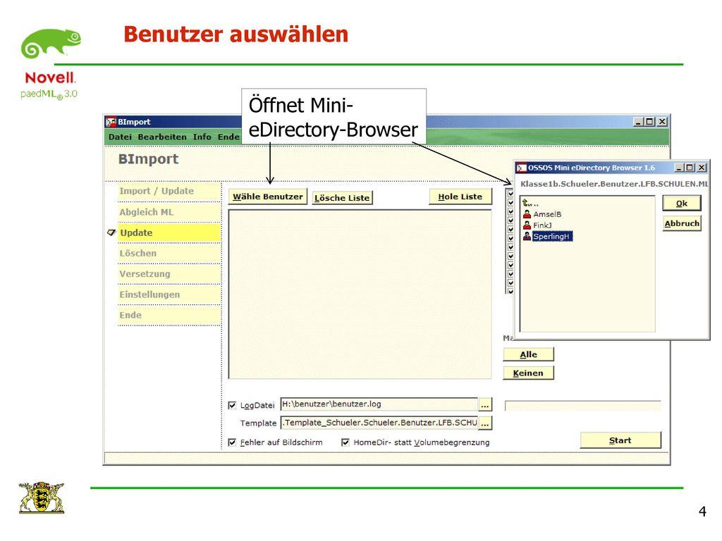 Benutzer auswählen Öffnet Mini-eDirectory-Browser