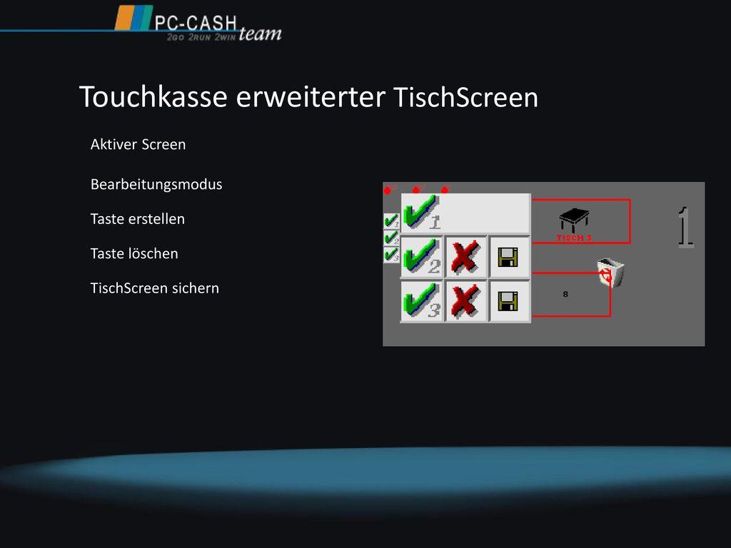 Touchkasse erweiterter TischScreen