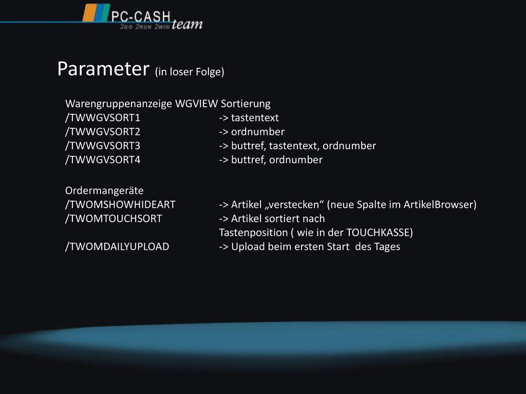 Parameter (in loser Folge)