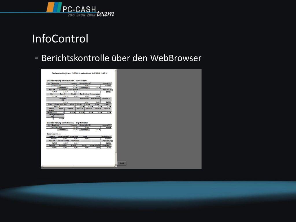 InfoControl - Berichtskontrolle über den WebBrowser