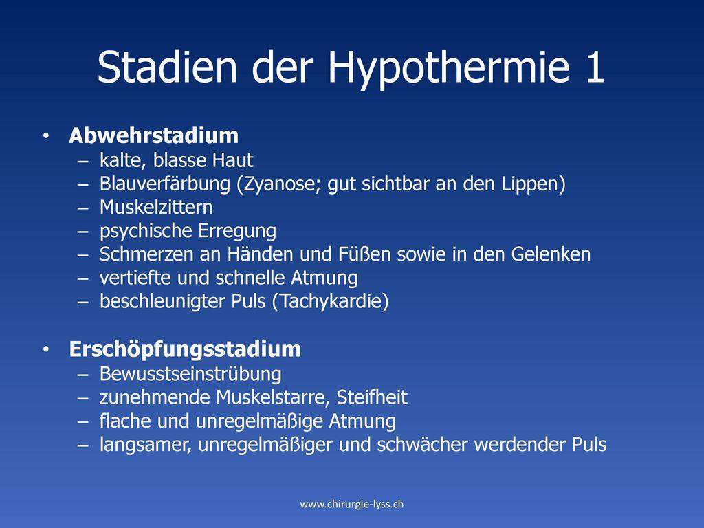 Stadien der Hypothermie 1