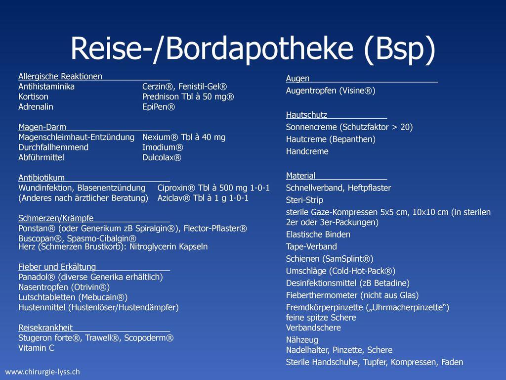 Reise-/Bordapotheke (Bsp)
