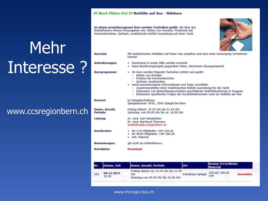 Mehr Interesse www.ccsregionbern.ch