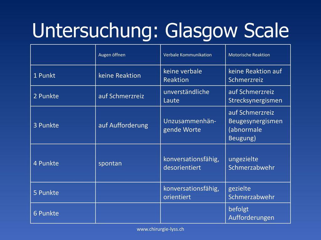 Untersuchung: Glasgow Scale