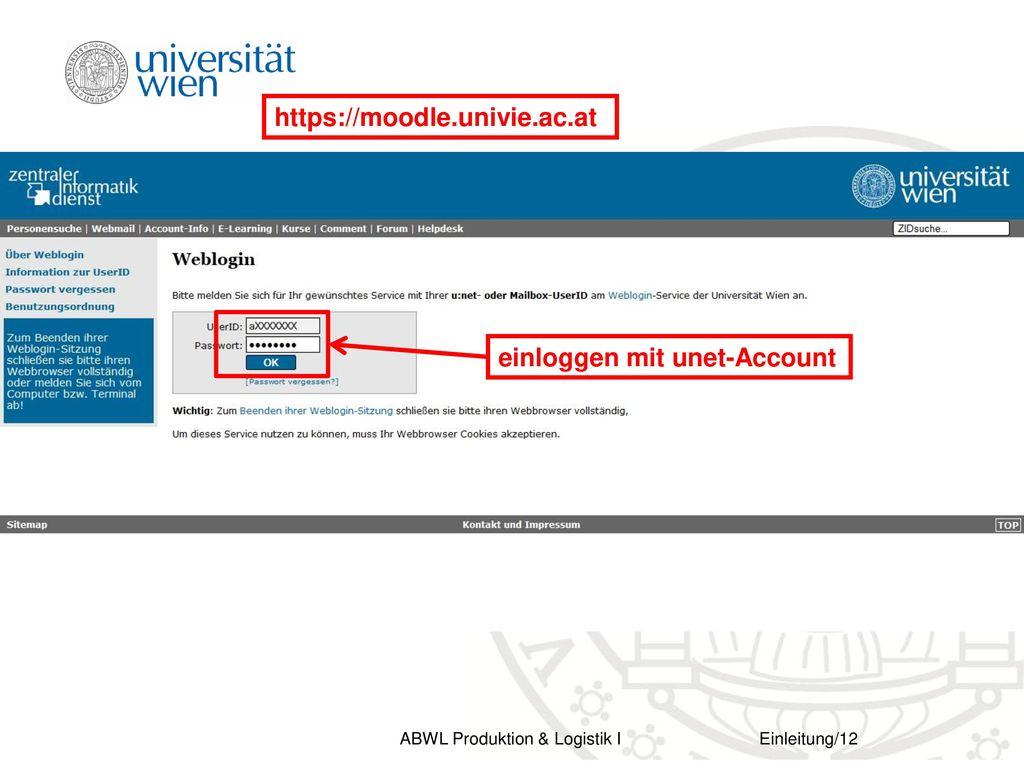 https://moodle.univie.ac.at einloggen mit unet-Account