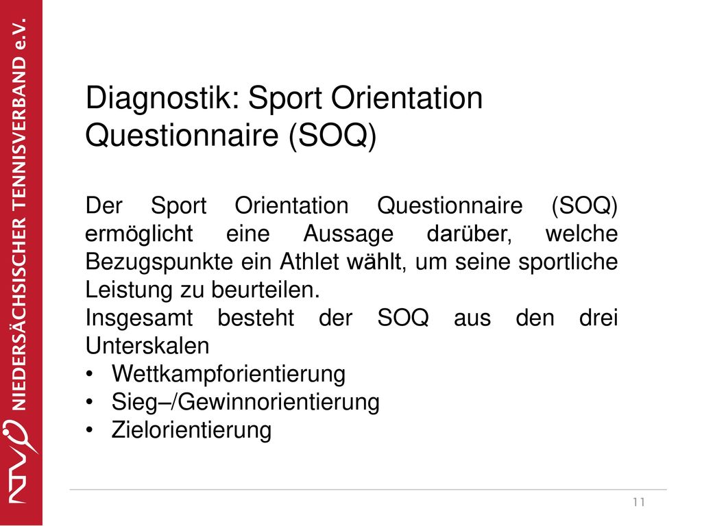 Diagnostik: Sport Orientation Questionnaire (SOQ)