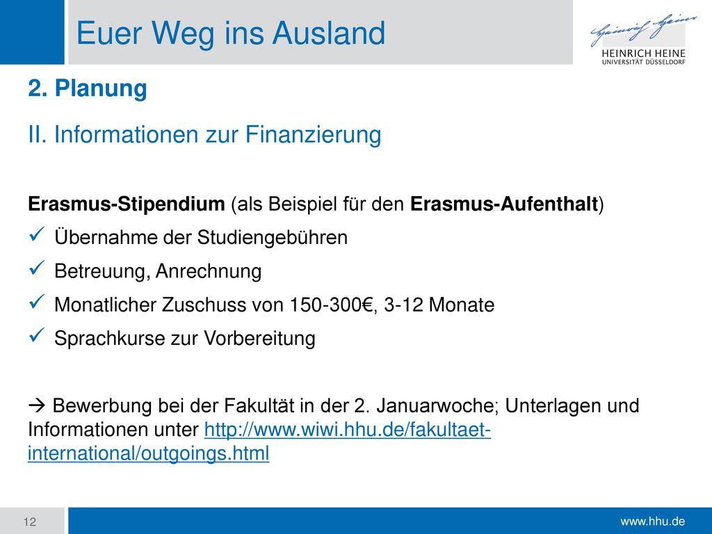Euer Weg ins Ausland 2. Planung II. Informationen zur Finanzierung
