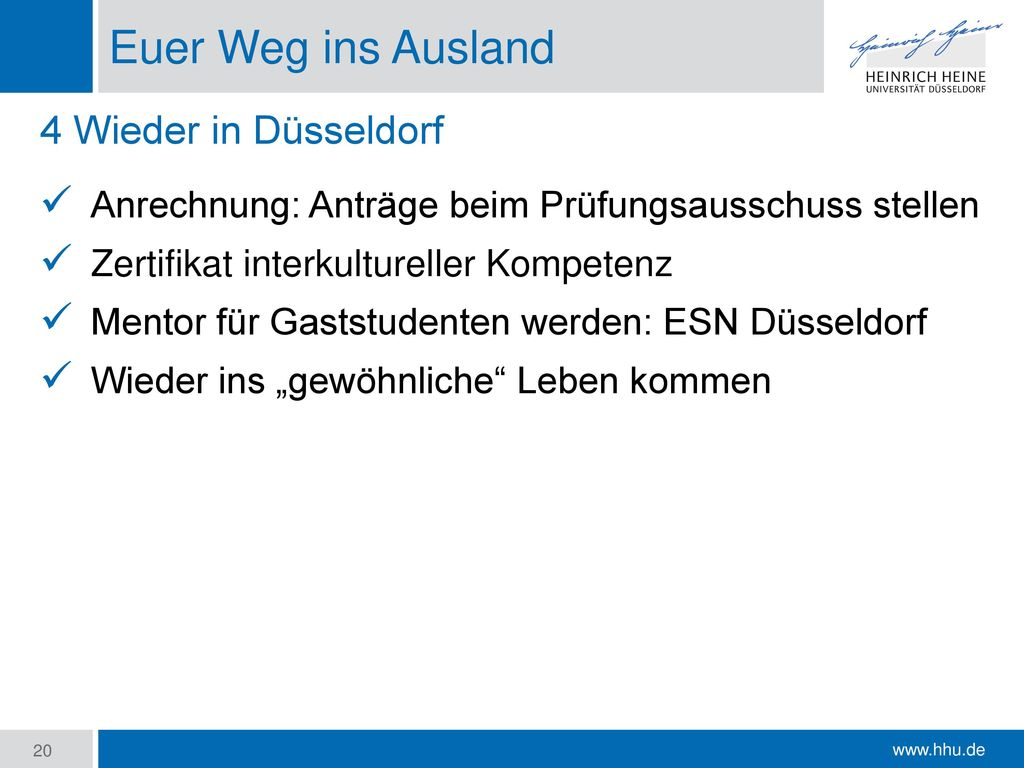 Euer Weg ins Ausland 4 Wieder in Düsseldorf