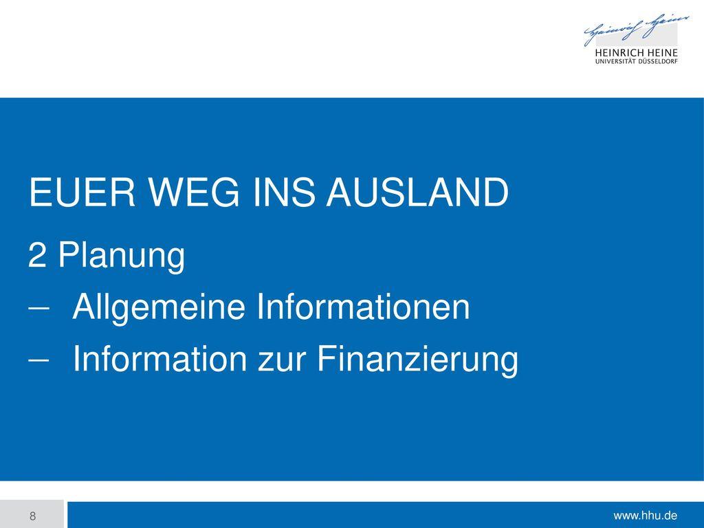 2 Planung Allgemeine Informationen Information zur Finanzierung