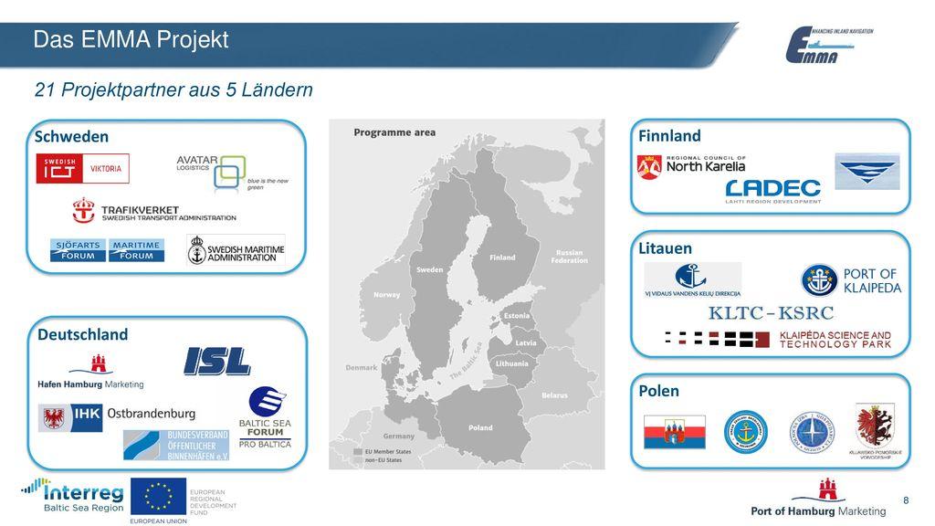 Das EMMA Projekt 21 Projektpartner aus 5 Ländern Schweden Finnland