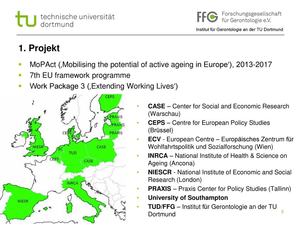 1. Projekt MoPAct ('Mobilising the potential of active ageing in Europe'), 2013-2017. 7th EU framework programme.