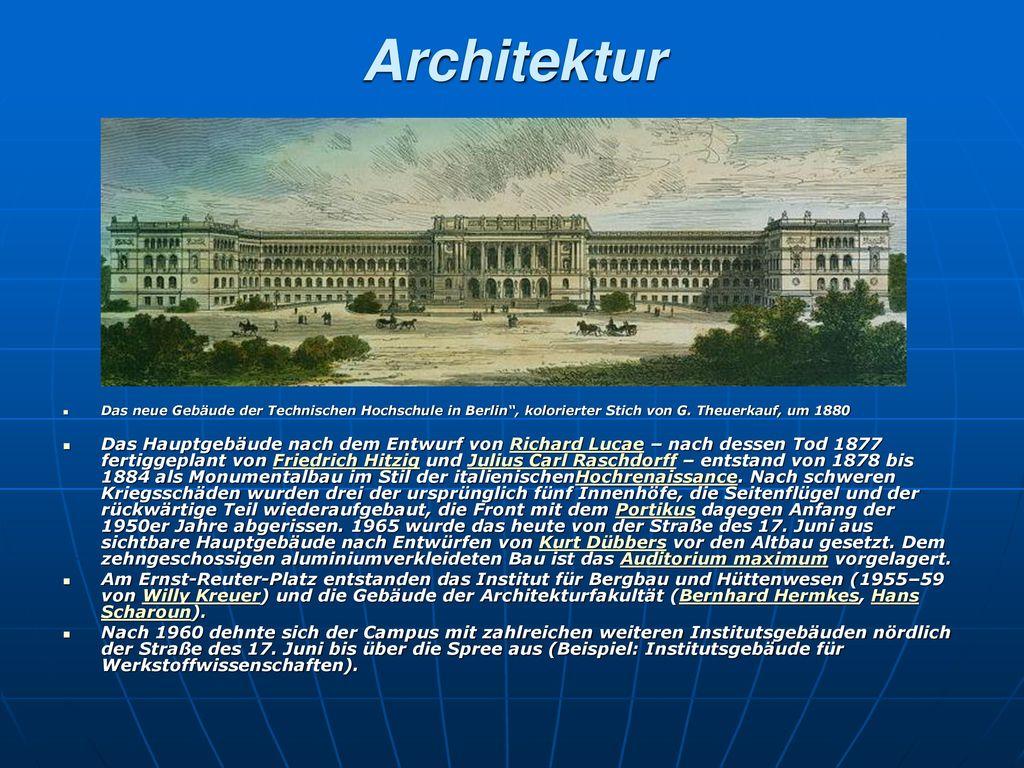 Architektur Das neue Gebäude der Technischen Hochschule in Berlin , kolorierter Stich von G. Theuerkauf, um 1880.