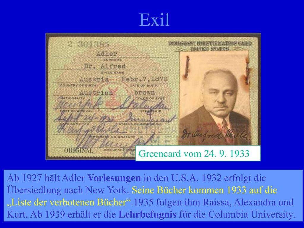 Exil Greencard vom 24. 9. 1933G.