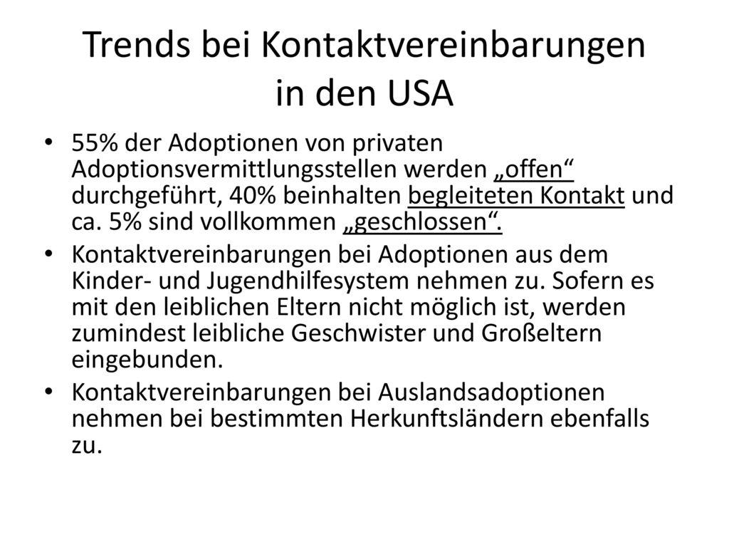 Trends bei Kontaktvereinbarungen in den USA
