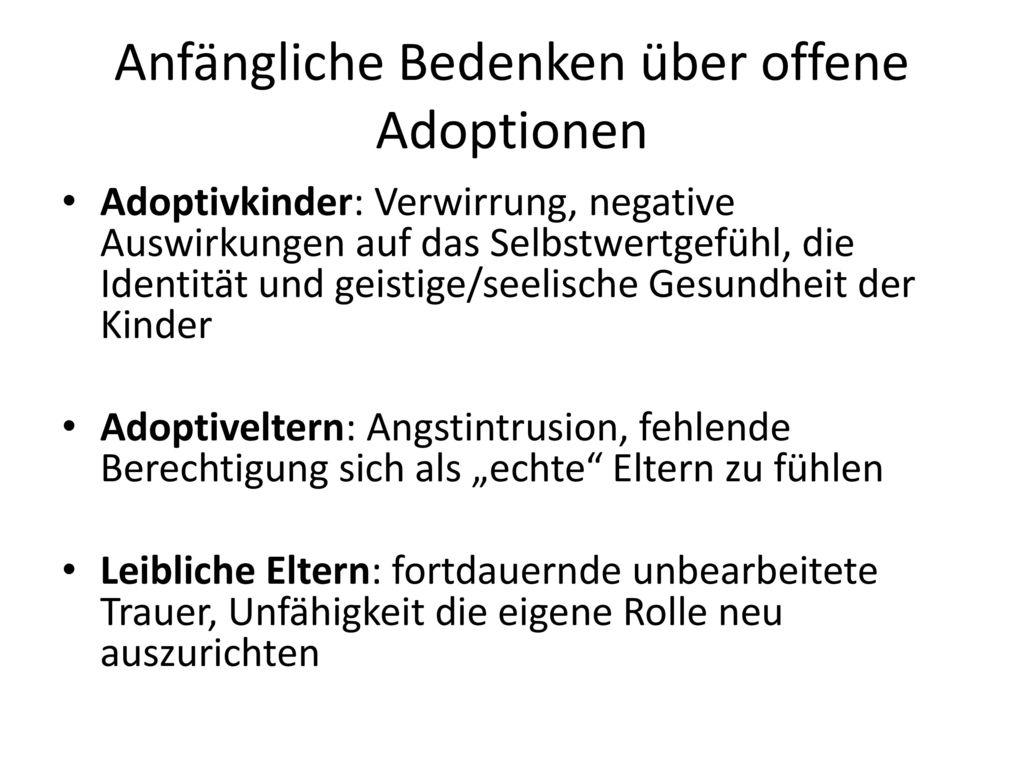 Anfängliche Bedenken über offene Adoptionen