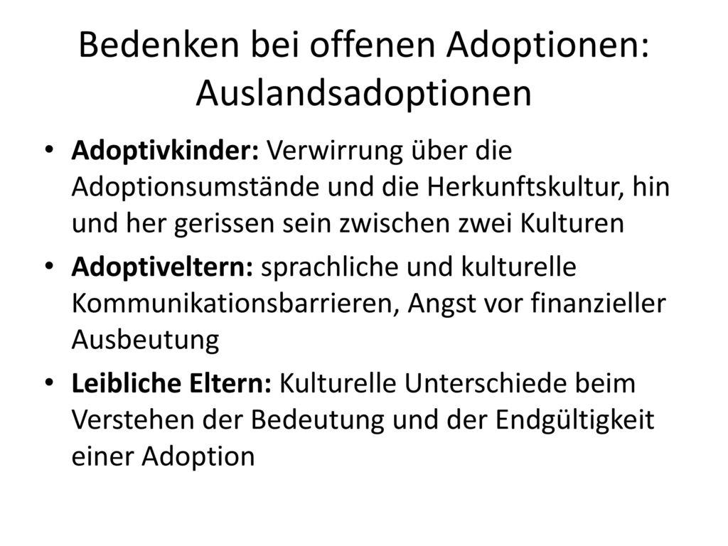 Bedenken bei offenen Adoptionen: Auslandsadoptionen
