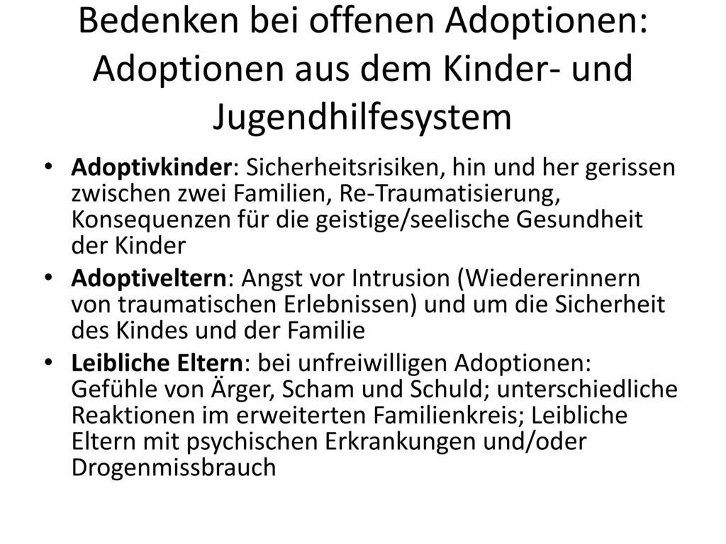 Bedenken bei offenen Adoptionen: Adoptionen aus dem Kinder- und Jugendhilfesystem